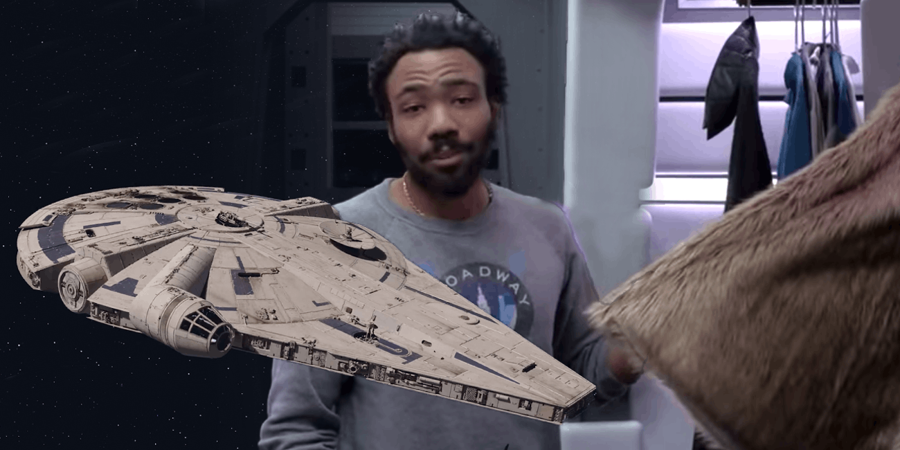 Donald Glover with the Falcon