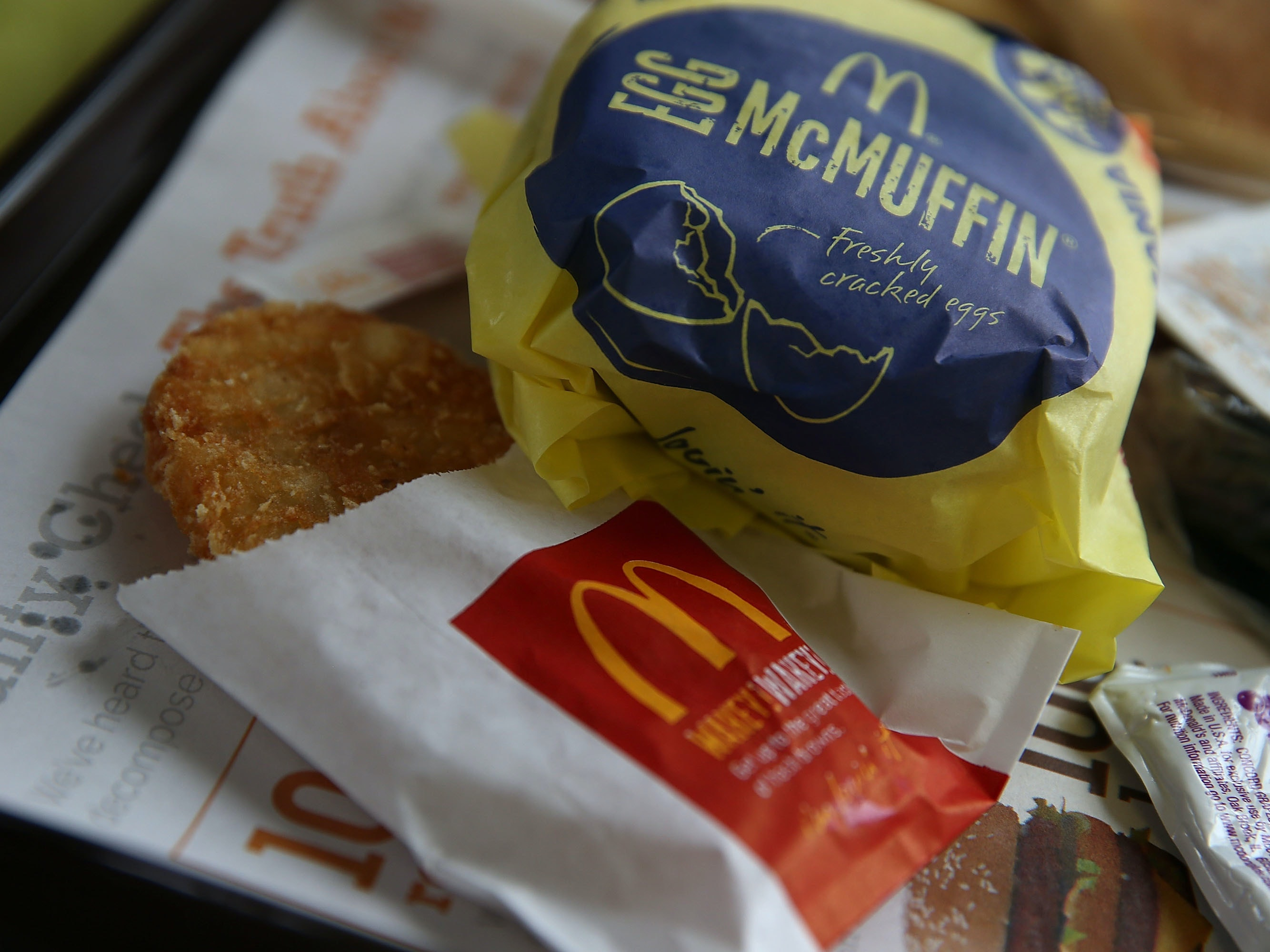 FAIRFIELD, CA - JULY 23:  A McDonald's Egg McMuffin and hash browns are displayed at a McDonald's restaurant on July 23, 2015 in Fairfield, California.  McDonald's has been testing all-day breakfast menus at select locations in the U.S. and could offer it at all locations as early as October.  (Photo illustration by Justin Sullivan/Getty Images)