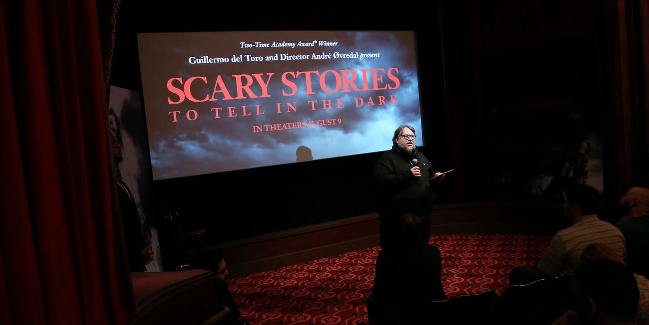 Del Toro premiering the new trailer for 'Scary Stories to Tell in the Dark'