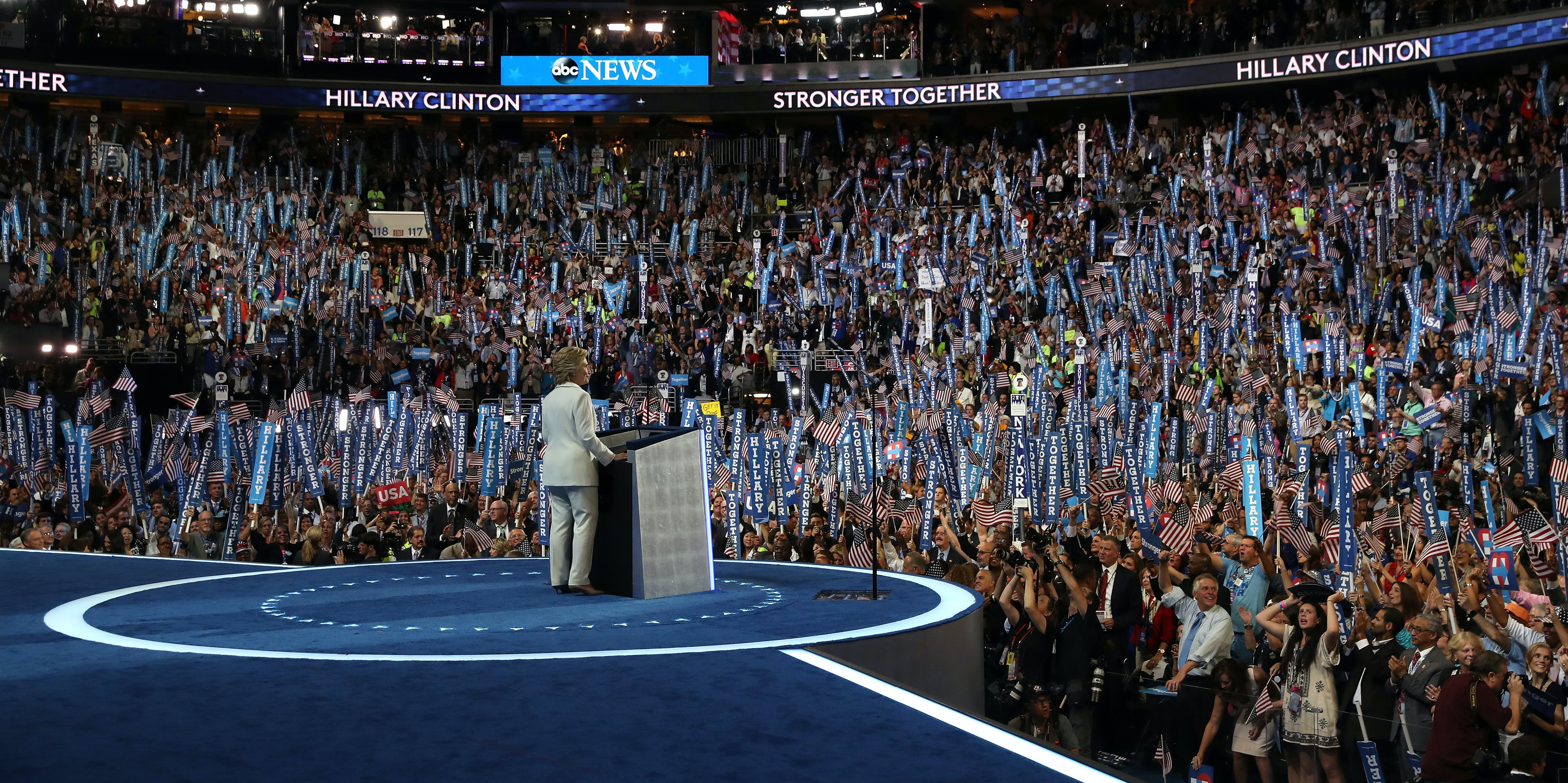PHILADELPHIA, PA - JULY 28:  Democratic presidential candidate Hillary Clinton delivers remarks during the fourth day of the Democratic National Convention at the Wells Fargo Center, July 28, 2016 in Philadelphia, Pennsylvania. Democratic presidential candidate Hillary Clinton received the number of votes needed to secure the party's nomination. An estimated 50,000 people are expected in Philadelphia, including hundreds of protesters and members of the media. The four-day Democratic National Convention kicked off July 25.  (Photo by Justin Sullivan/Getty Images)