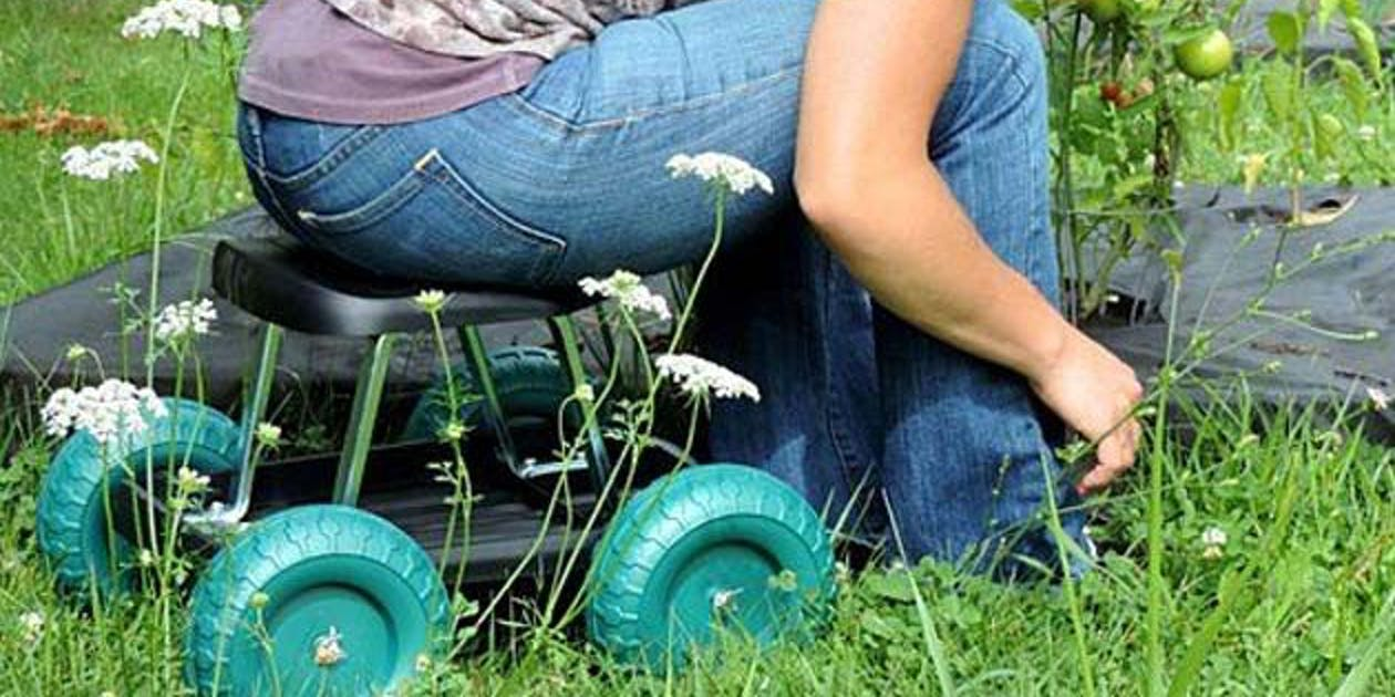 Rolling Garden Scooter Stool with Tool Tray