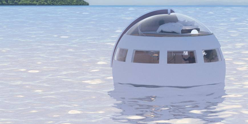 One of Huis Ten Bosch's floating hotel pods.