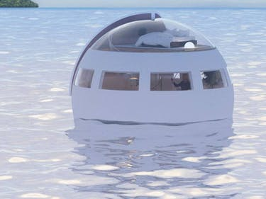 One of Huis Ten Bosch's floating hotel pods.