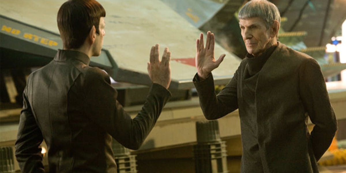 The two Spocks in 'Star Trek Into Darkness;