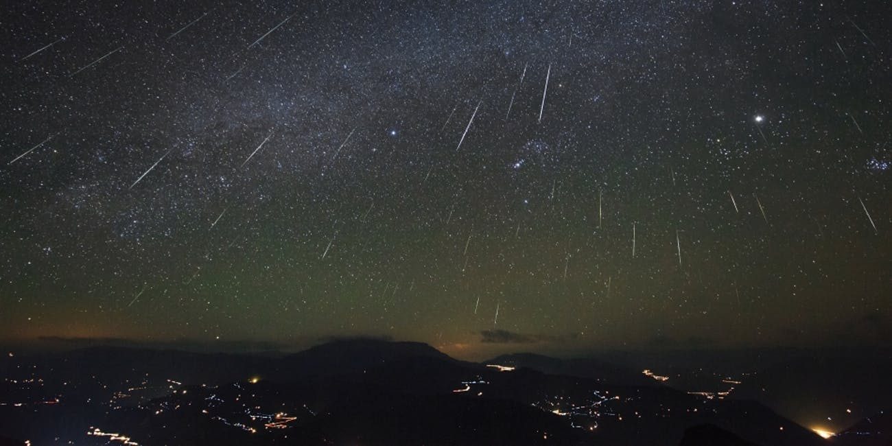 The Geminid meteor shower in action.