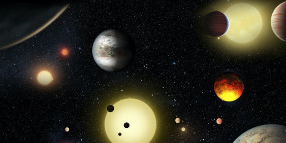 Artist's rendering of the planets discovered by Kepler thus far. Also maybe some aliens.