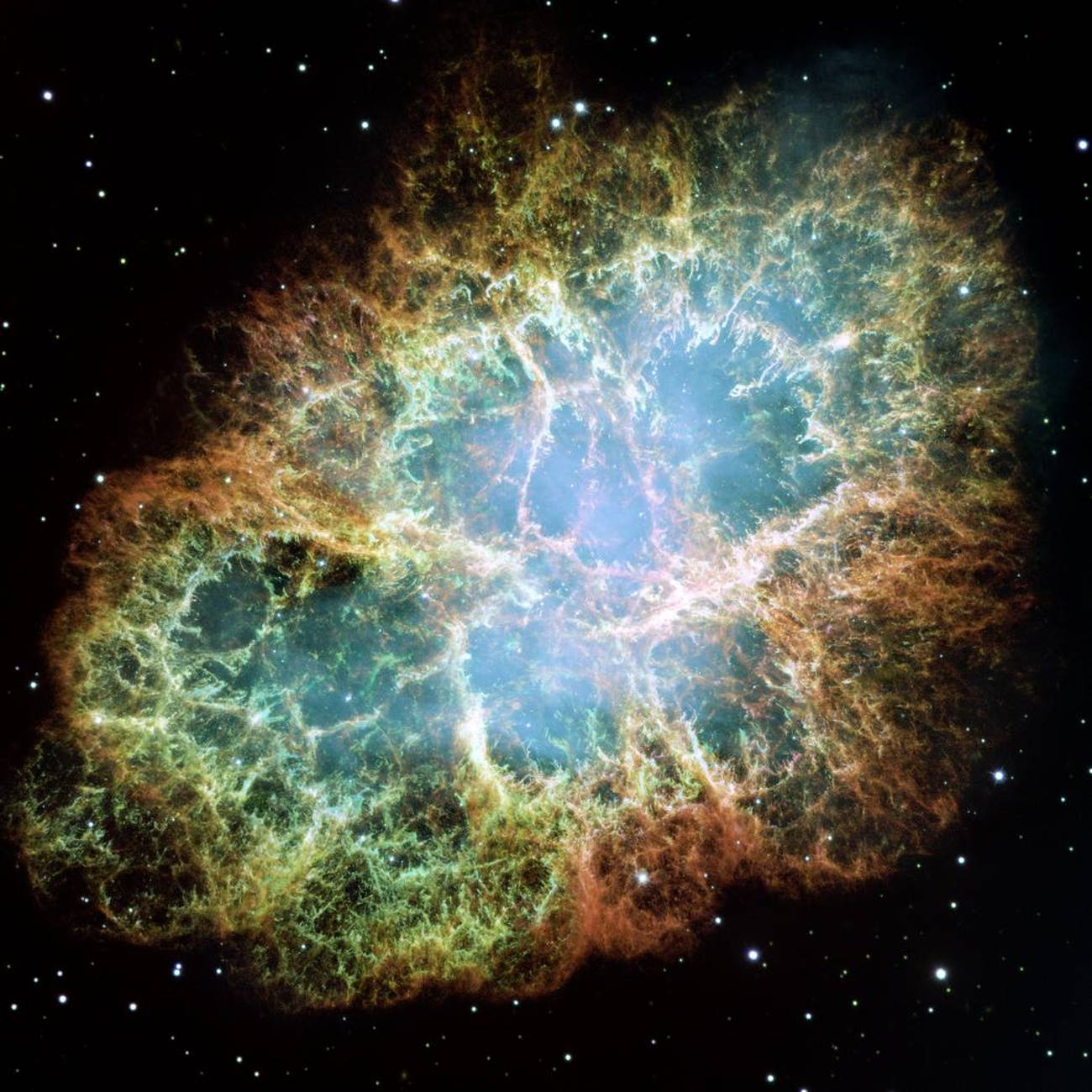 In the Crab Nebula's very center lies a pulsar: a neutron star as massive as the Sun but with only the size of a small town. The Crab Pulsar rotates about 30 times each second.