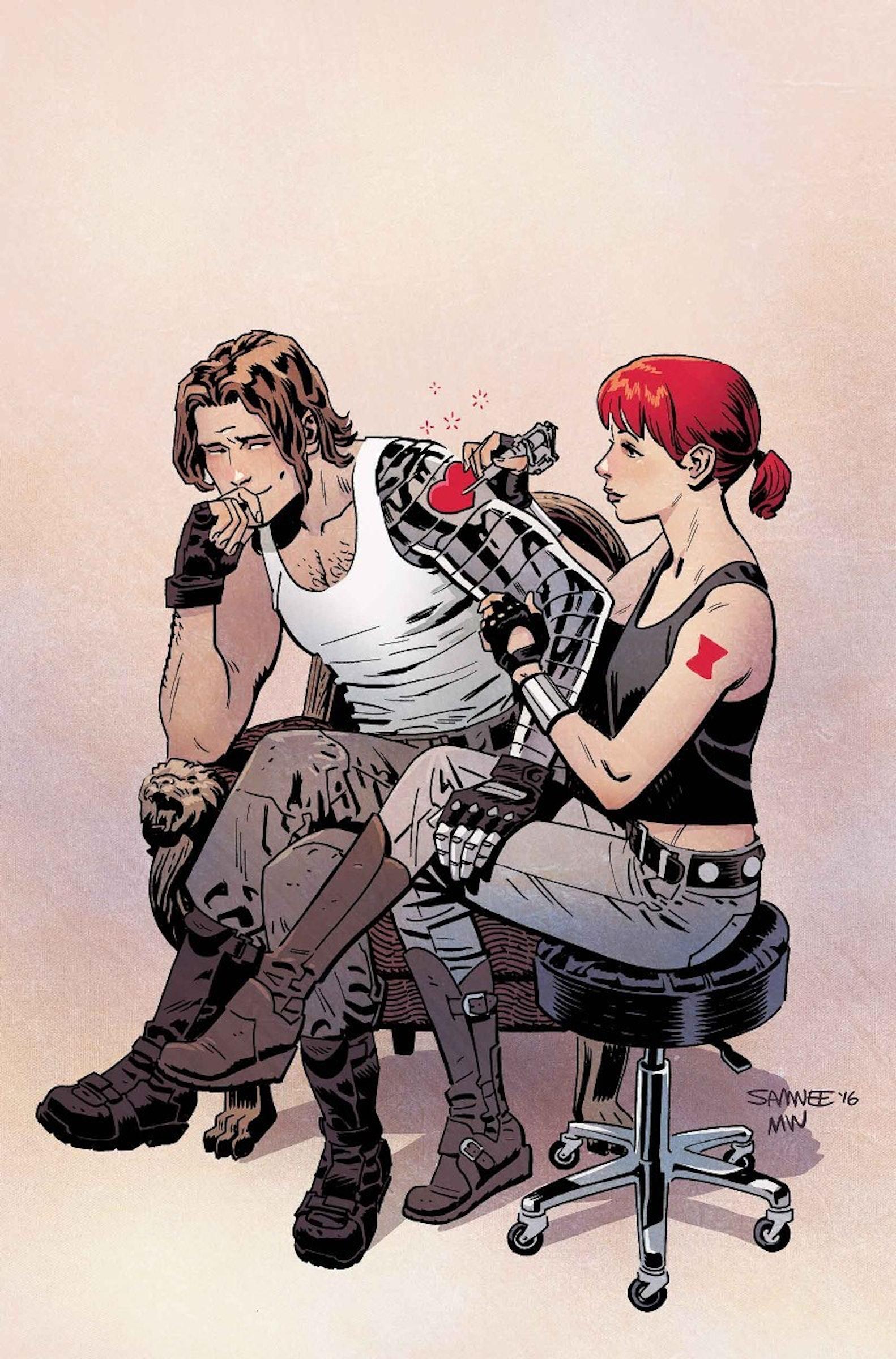 Nat and Bucky sitting in a tree, t.a.t.t.o.o.i.n.g.
