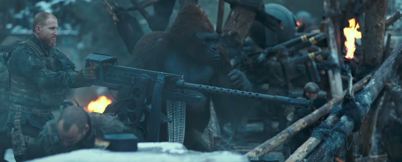 A gorilla on the humans' side in 'War for the Planet of the Apes'