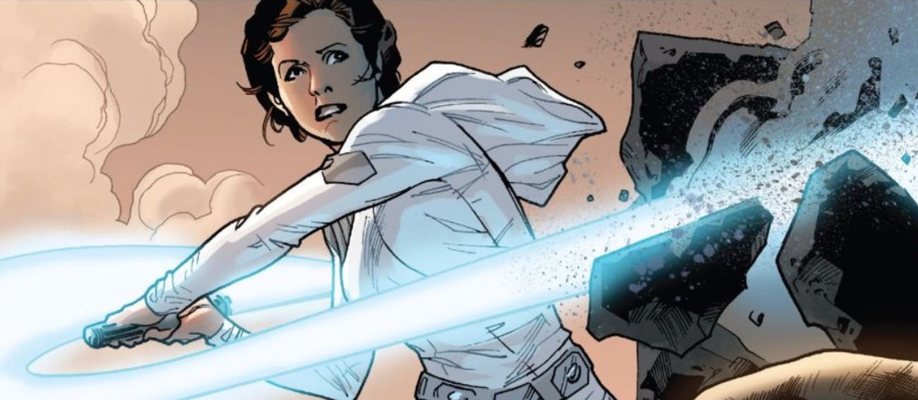 Leia with a borrowed lightsaber in 'Star Wars' #12 from Marvel Comics (2015)