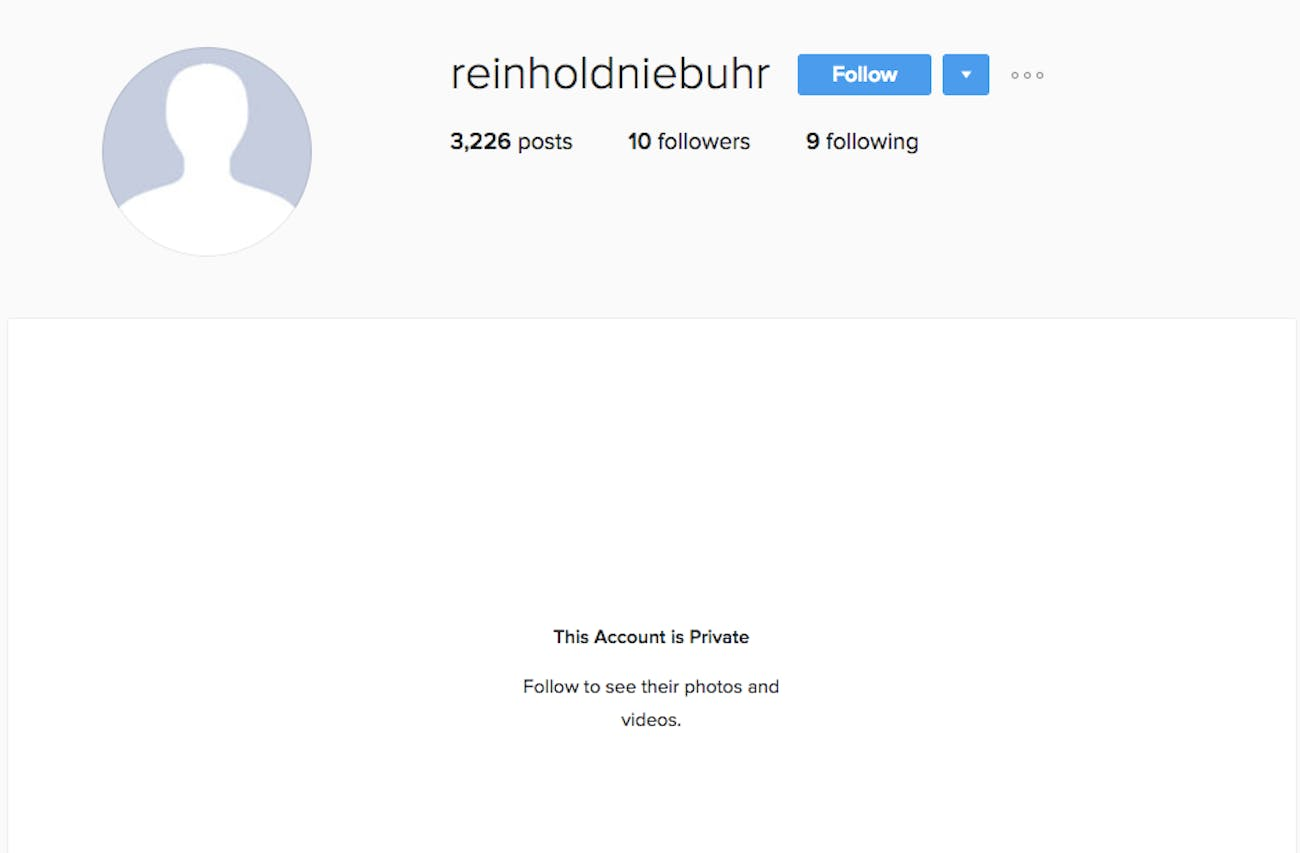 James Comey's Instagram account, @reinholdniebuhr.