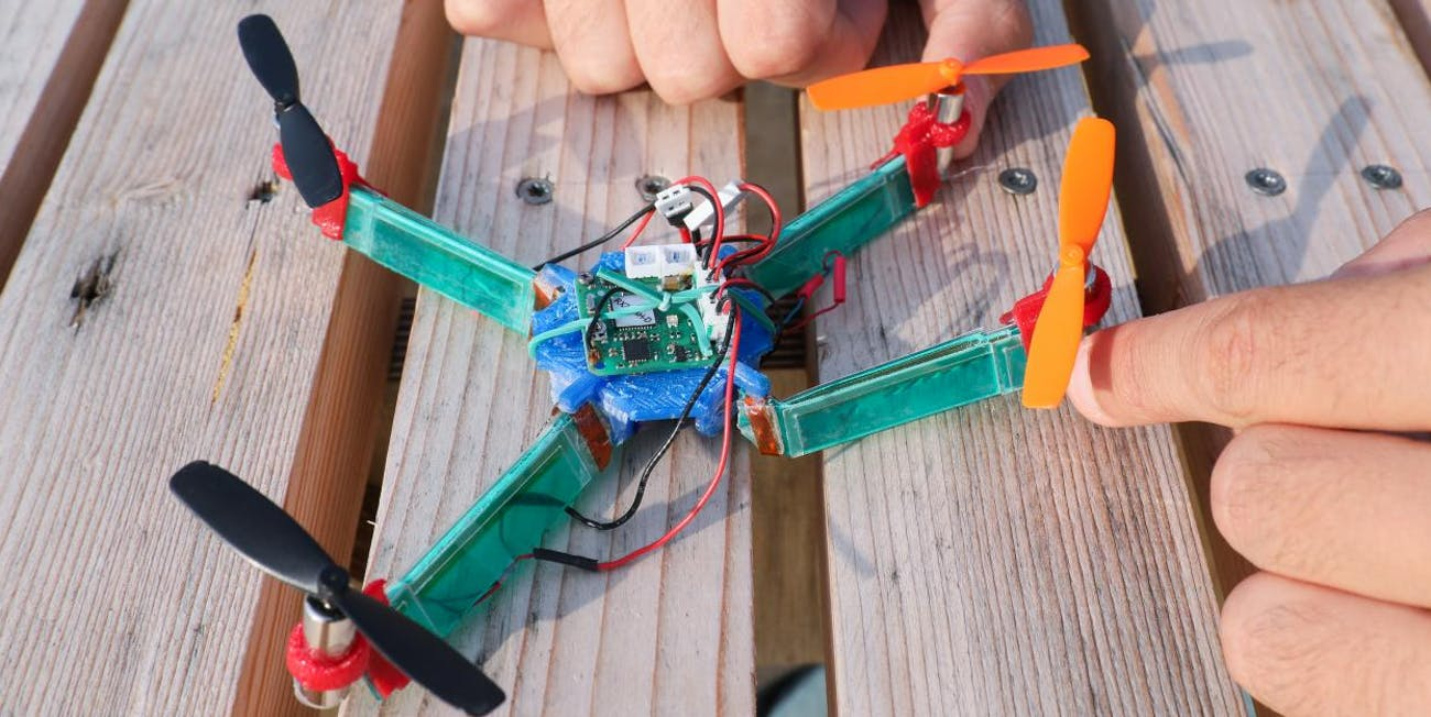 Drone Quadcopter Flexible Rigid New Insect Wings EPFL Stefano Mintchev