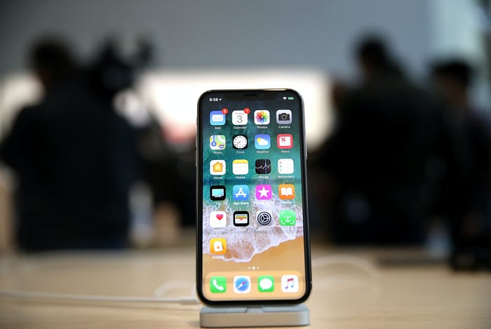 The new iPhone X is displayed at an Apple Store on November 3, 2017 in Palo Alto, California.