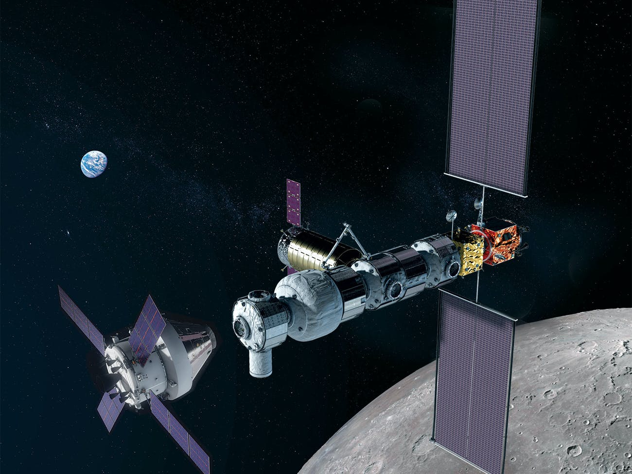 A NASA artist's rendering of the proposed Lunar Gateway that would orbit the moon and be the last stopping point before sending human astronauts to Mars.