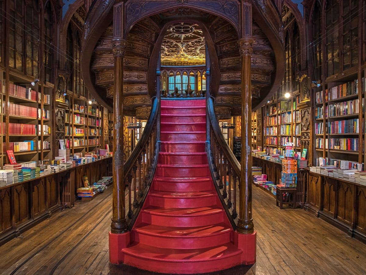 The inside of Livraria Lello.