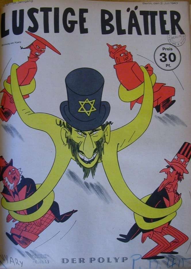"A Nazi magazine portraying the ""Jewish conspiracy"" as an octopus."