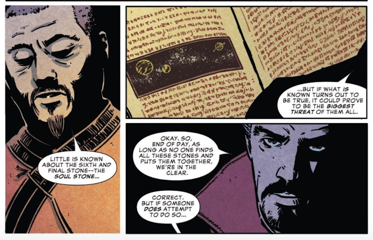 Wong explains the Soul Stone to Doctor Strange.