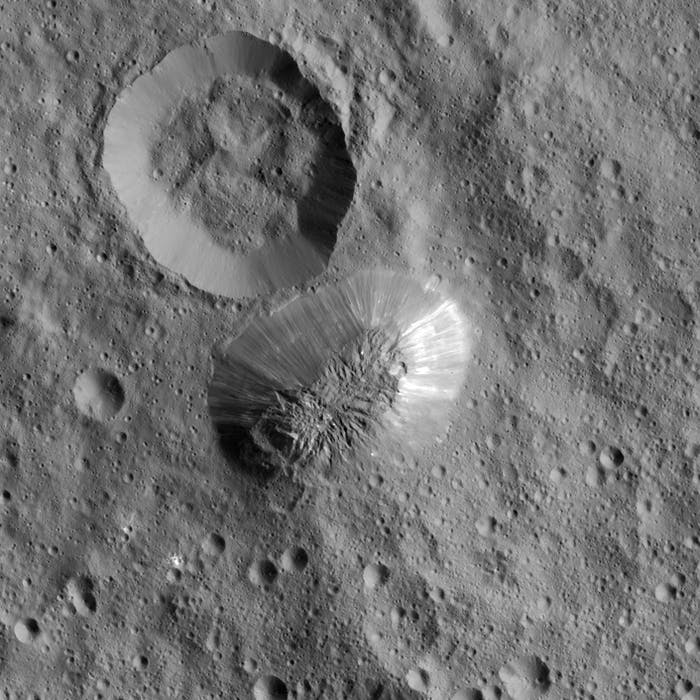 The view of Ahuna Mons from above.