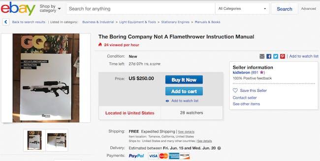 ebay boring company not a flamethrower instruction manual