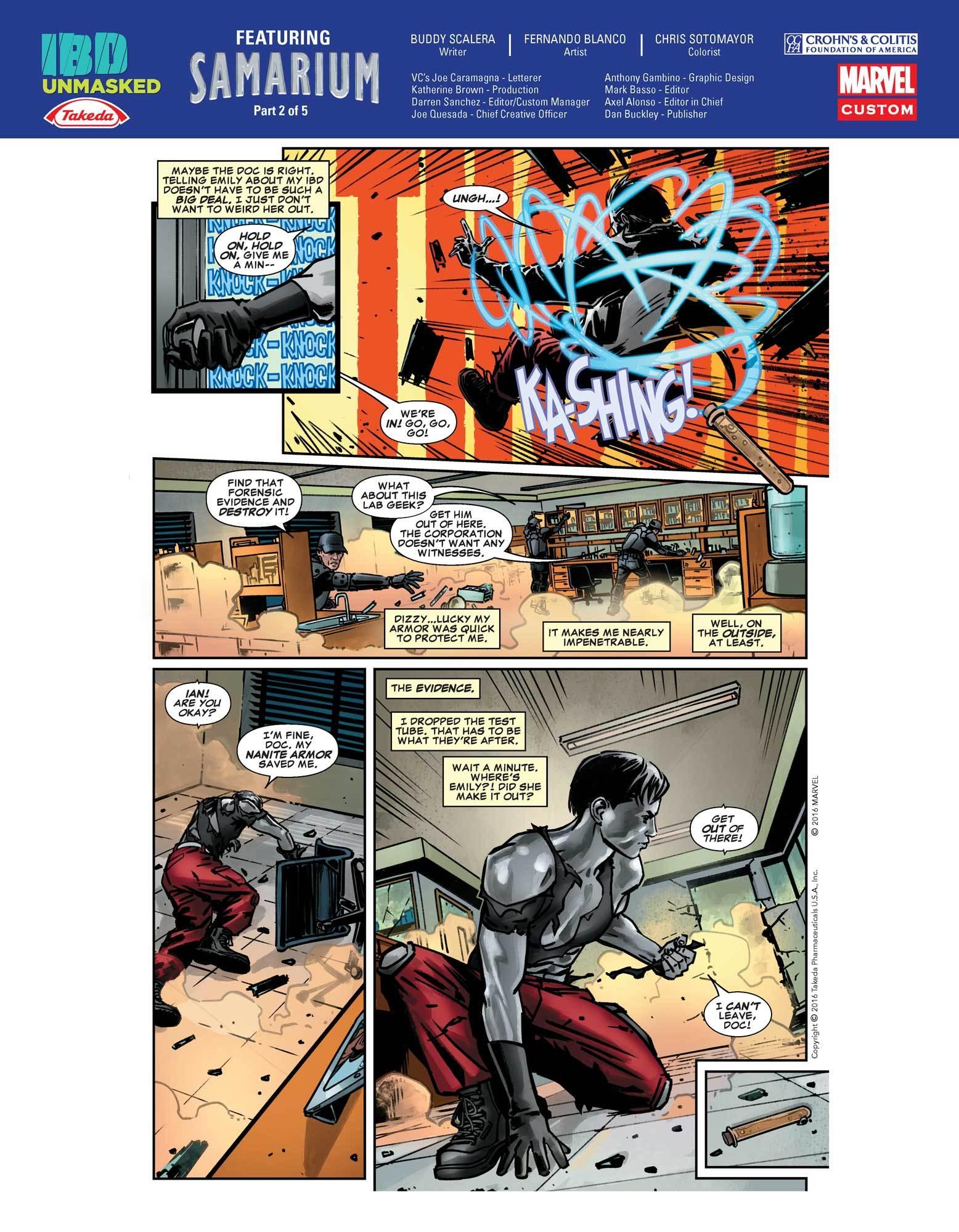 Samarium fights criminals at his laboratory