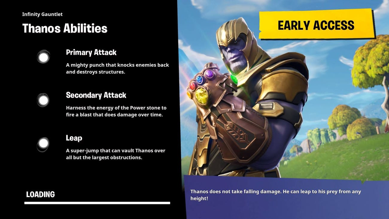 Thanos's abilities in 'Fortnite' are pretty straightforward.