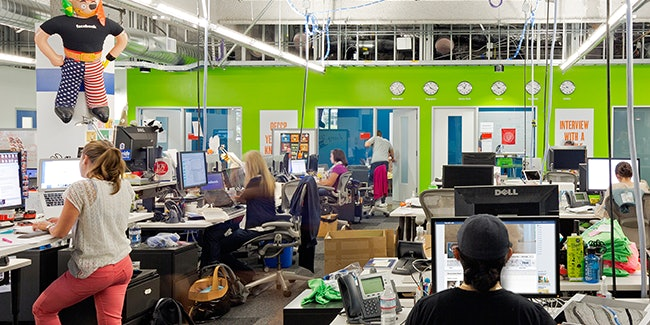 Trump's campaign looked backward to days of factories when it might have looked ahead to the fast-growing technology sector. Pictured: A file photo of Facebook's offices.