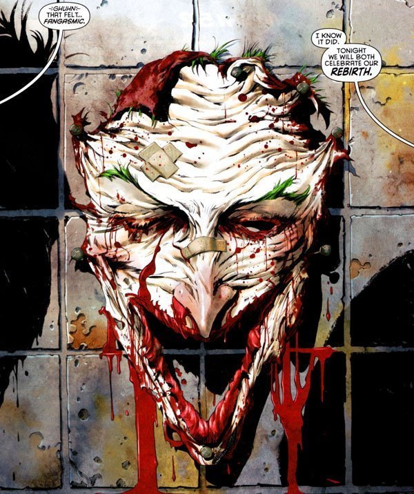The Joker's bloody face hanging on a wall in a 'New 52' issue.