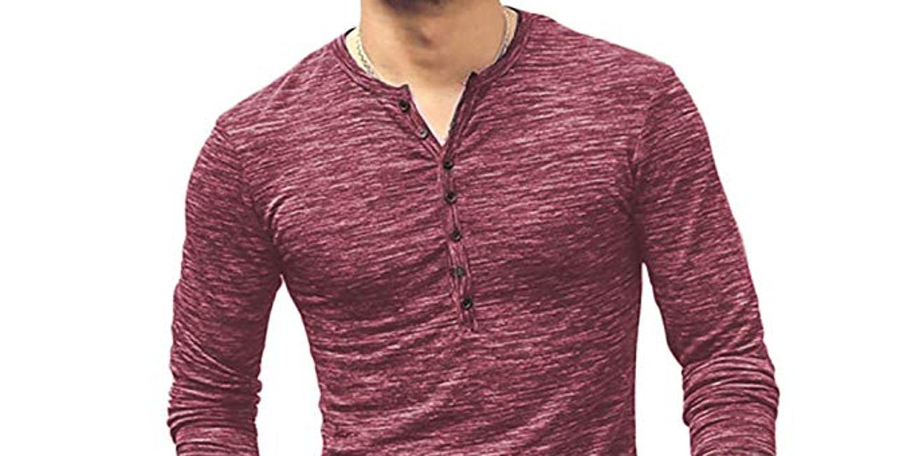 WULFUL Men's Casual Slim Fit Henley Shirt Lightweight Long Sleeve Basic Summer Fashion T-Shirt