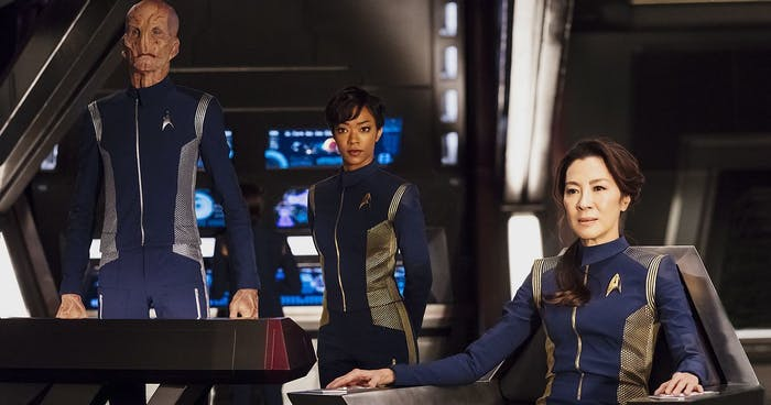 Doug Jones as Lt. Saru, Sonequa Martin-Green as First Officer Michael Burnham, and Michelle Yeoh as Philippa Georgiou in 'Star Trek: Discovery'.