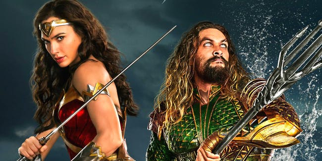 Wonder Woman, Aquaman on a poster for 'Justice League'.