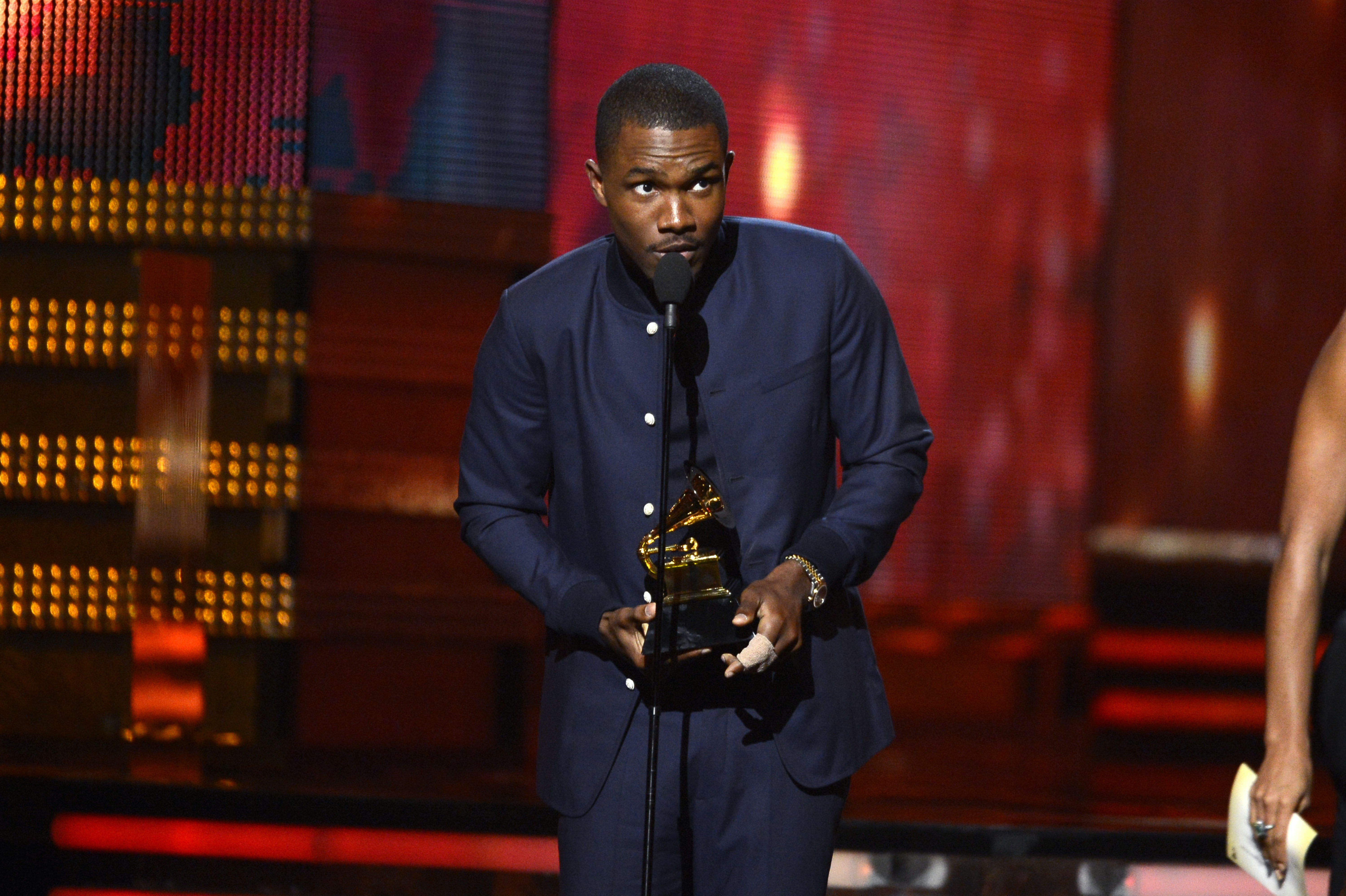 Singer Frank Ocean accepts Best Urban Contemporary Album award for 'Channel Orange' onstage at the 55th Annual GRAMMY Awards at Staples Center on February 10, 2013 in Los Angeles, California.