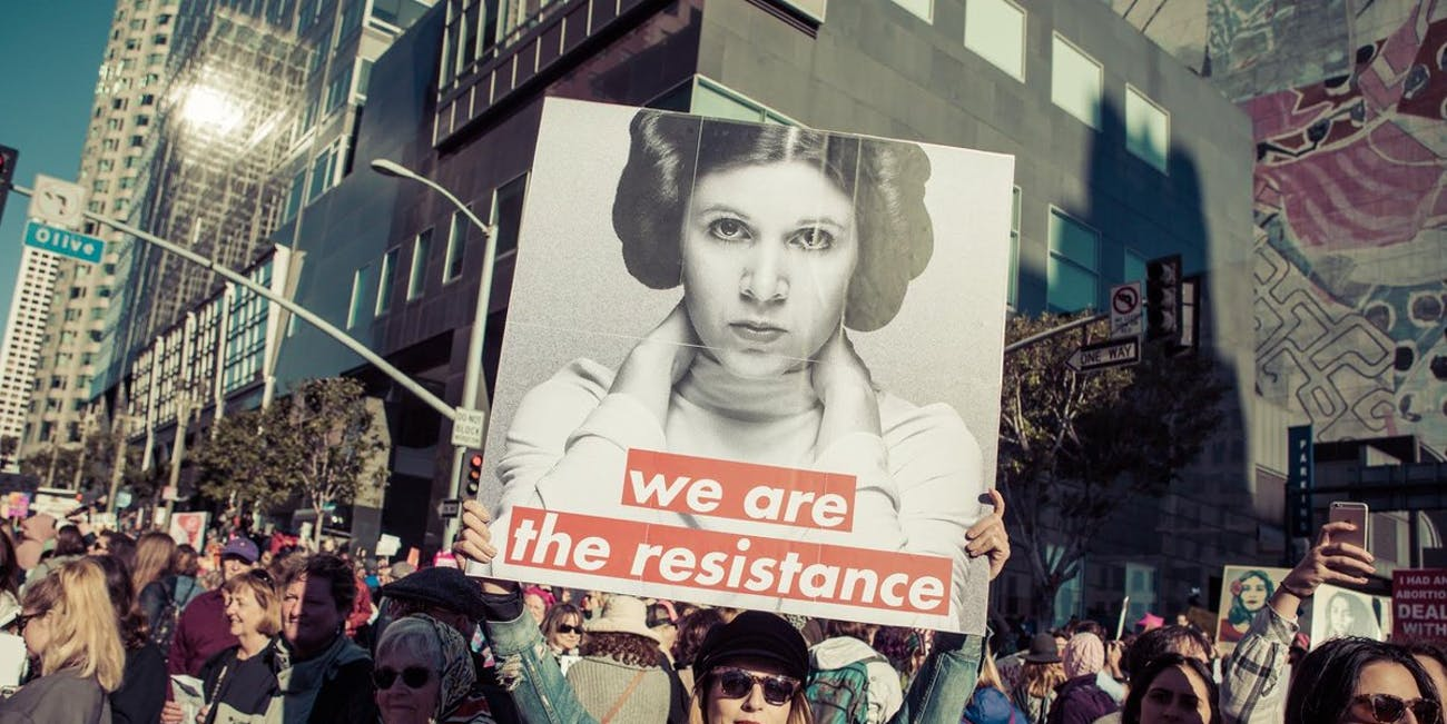 One of many Princess Leia-themed signs from the Women's March 2018.