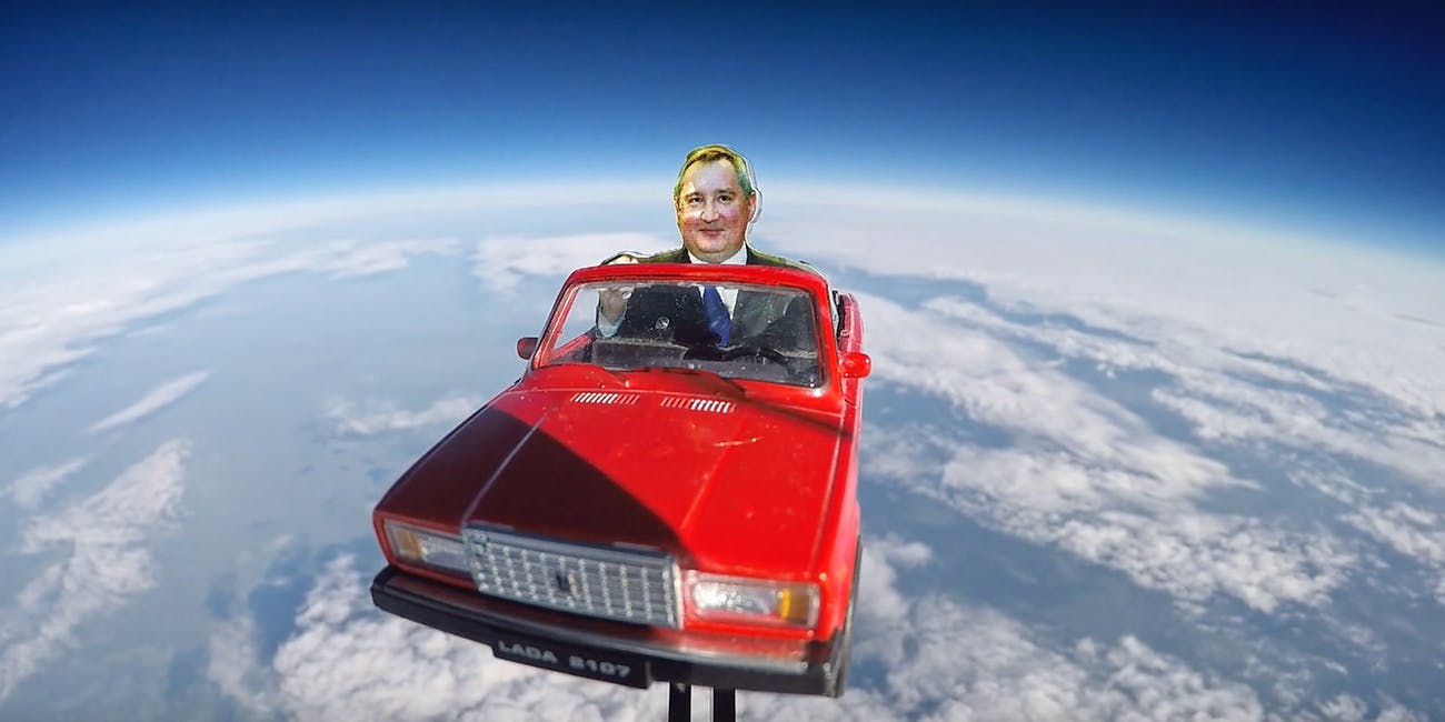 Russia's car goes into space.