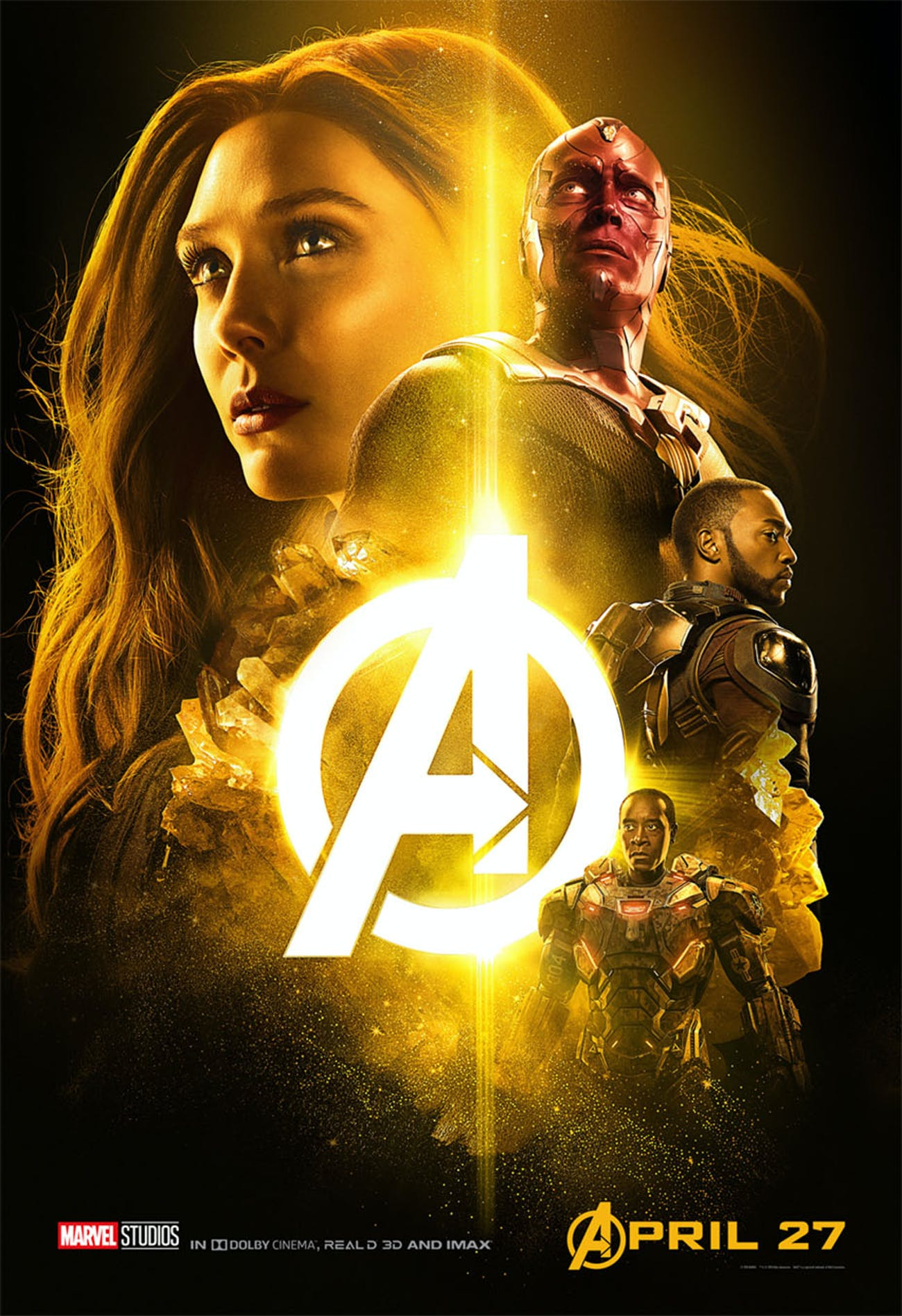 The yellow 'Infinity War' poster has Vision, Scarlet Witch, Falcon, and War Machine.