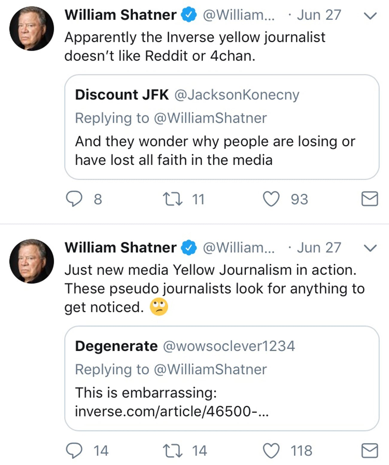 Why William Shatner Blocked Inverse on Twitter, an