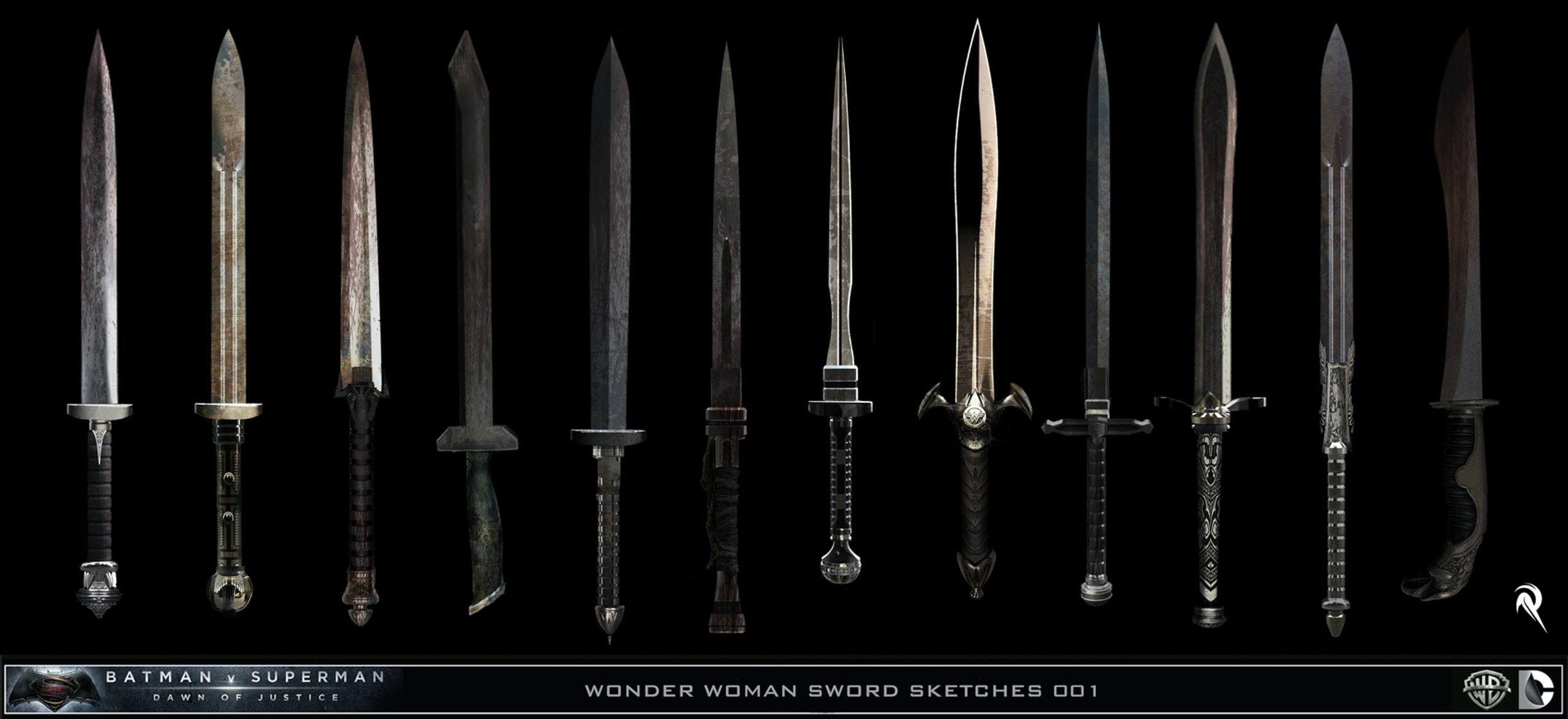 Designs for Wonder Woman's Sword in Batman v Superman