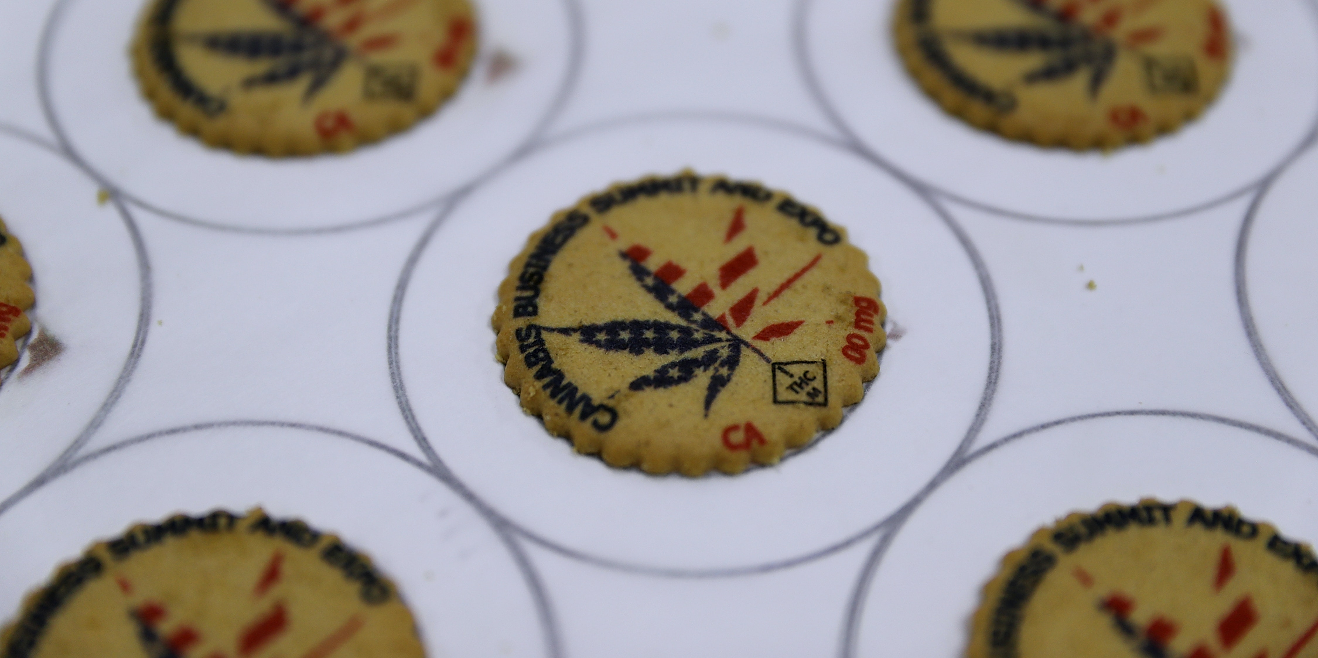 Cookies with a marijuana leaf printed on them are displayed during the 2016 Cannabis Business Summit & Expo  on June 22, 2016 in Oakland, California. Policy makers and innovators gathered for the three-day long Cannabis Business Summit & Expo.