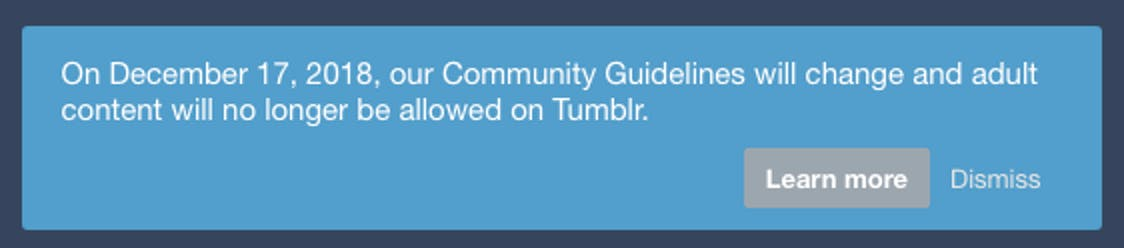 This message greets Tumblr users on their dashboard.