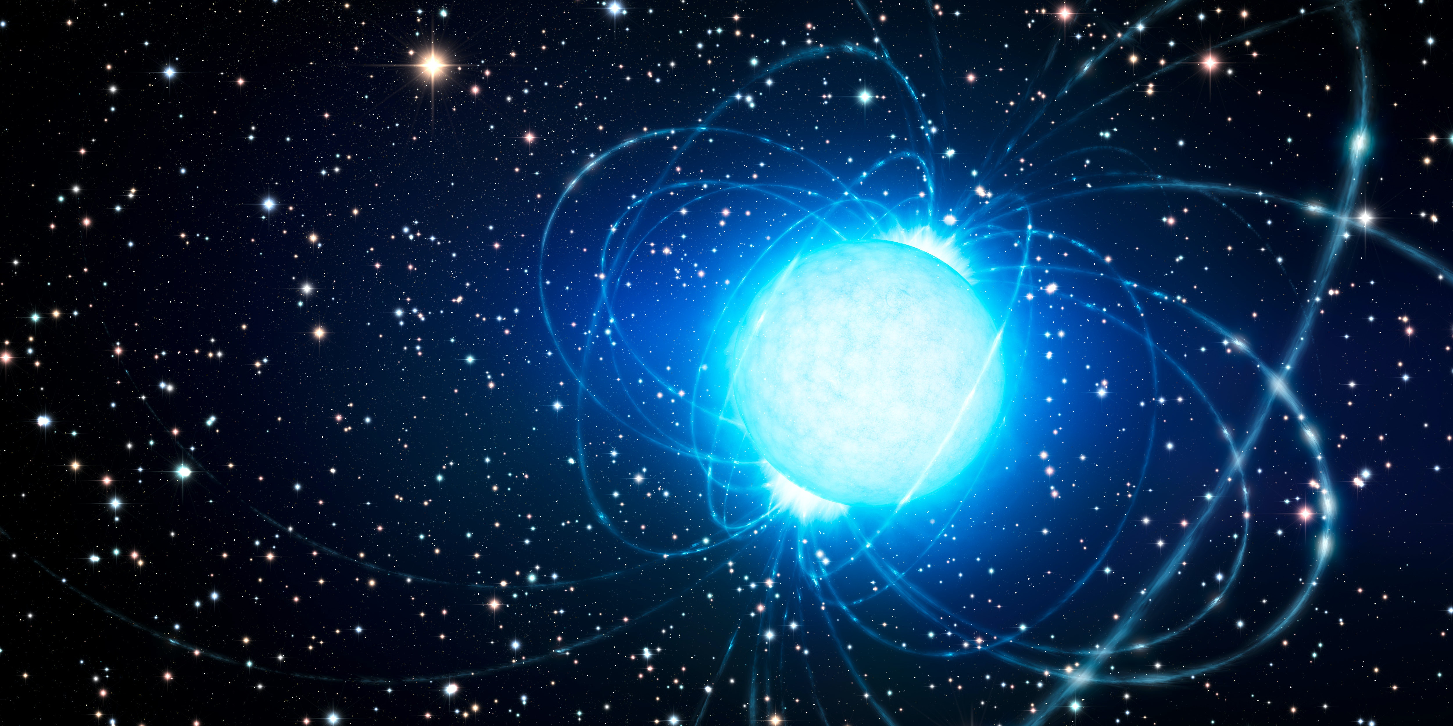 Artist's conception of a powerful magnetar in a star cluster.
