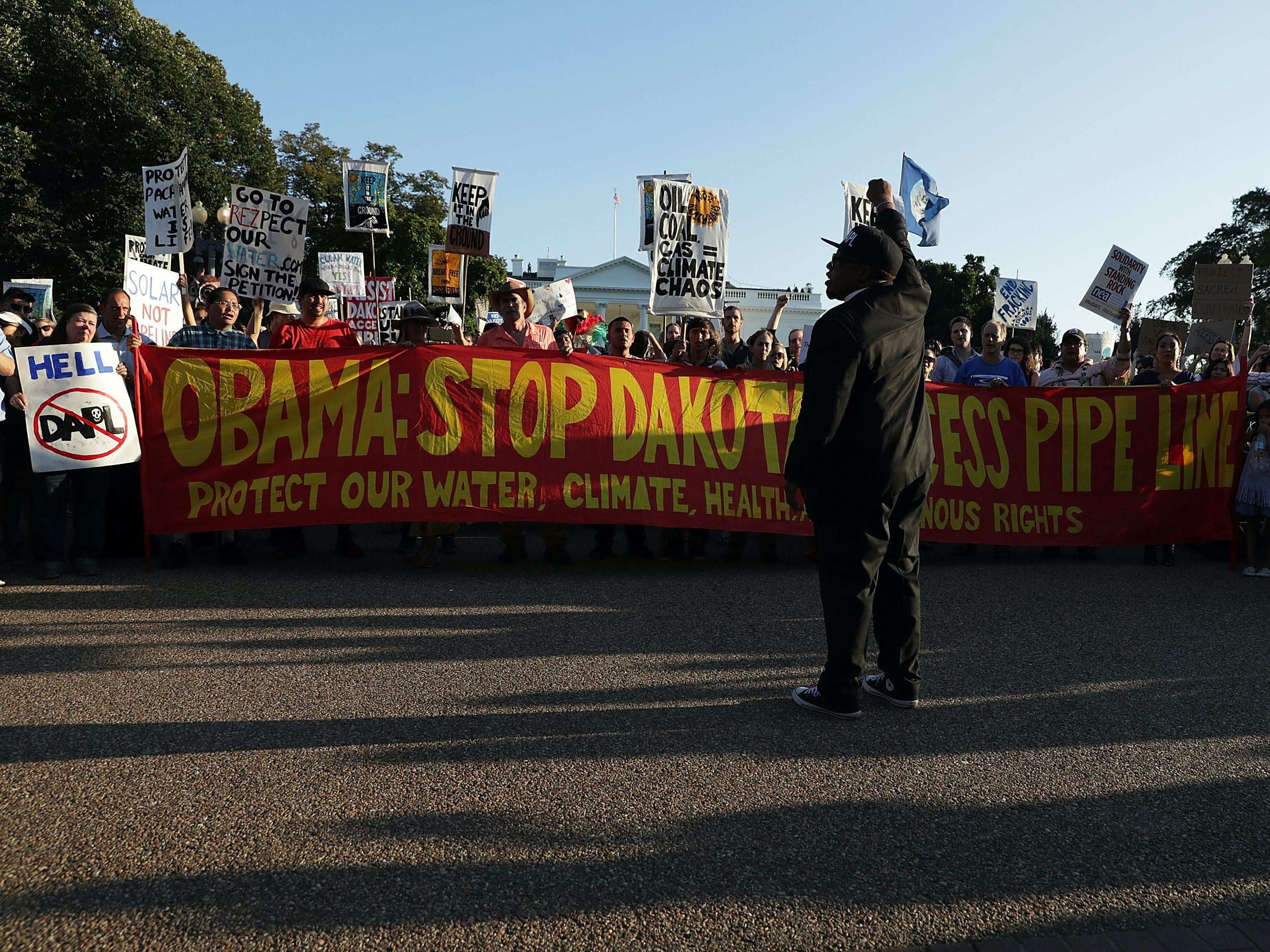 Activists gather in front of the White House during a rally against the Dakota Access Pipeline September 13, 2016 in Washington, DC. Activists held a rally to call on President Barack Obama to stop the Dakota Access Pipeline.