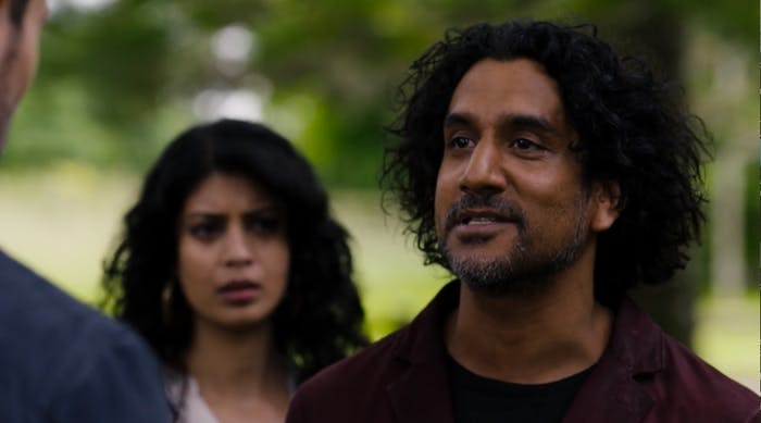 Naveen Andrews as Jonas and Tina Desai as Kala in 'Sense8'