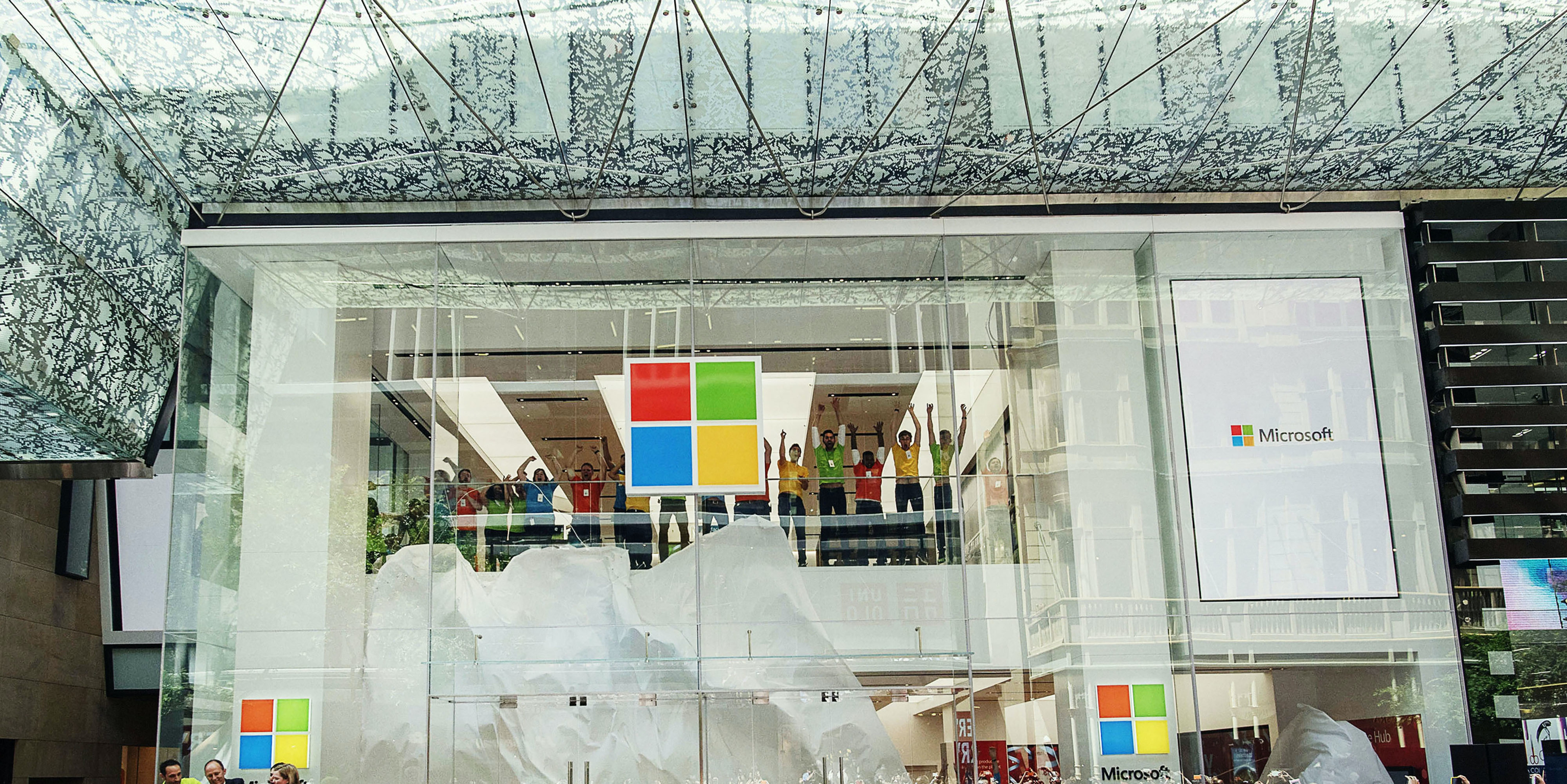SYDNEY, AUSTRALIA - NOVEMBER 12:  Crowds at the opening of Microsoft's first Australian store at Westfield Sydney on November 12, 2015 in Sydney, Australia. It is the first flagship store outside of North America.  (Photo by Christopher Pearce/Getty Images)