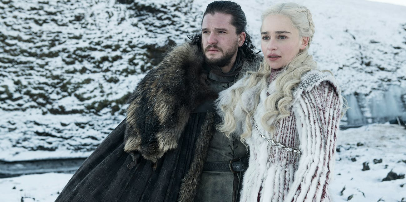 Kit Harington and Emilia Clarke in 'Game of Thrones' Season 8