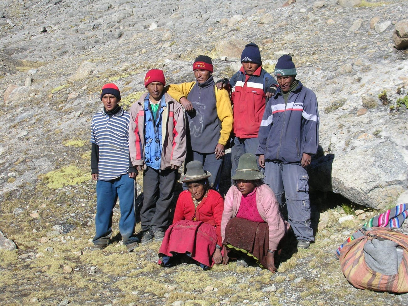A family living below the Quelccaya ice cap.