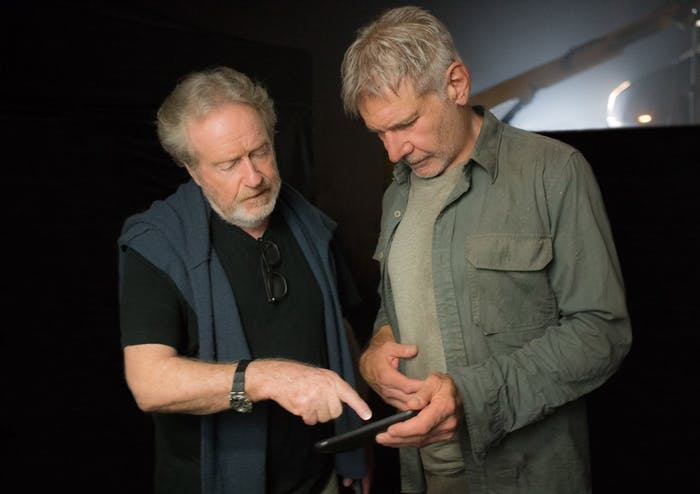 Ridley Scott, who directed the 1982 original and is a producer on the sequel, and Harrison Ford.