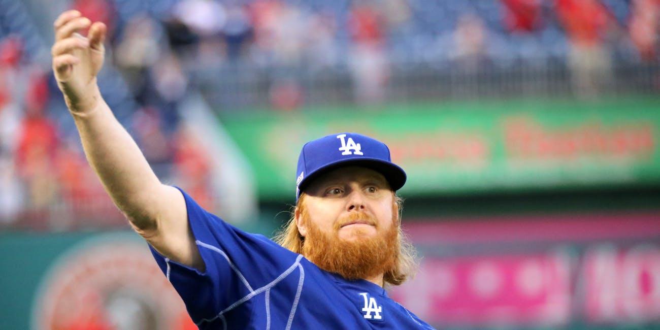 Dodgers infielder Justin Turner works out before NLDS Game 5.