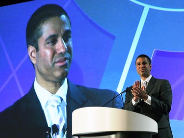 Federal Communications Commission Chairman Ajit Pai speaks during the 2017 NAB Show at the Las Vegas Convention Center on April 25, 2017 in Las Vegas, Nevada. NAB Show, the trade show of the National Association of Broadcasters and the world's largest electronic media show, runs through April 27 and features more than 1,700 exhibitors and 103,000 attendees.