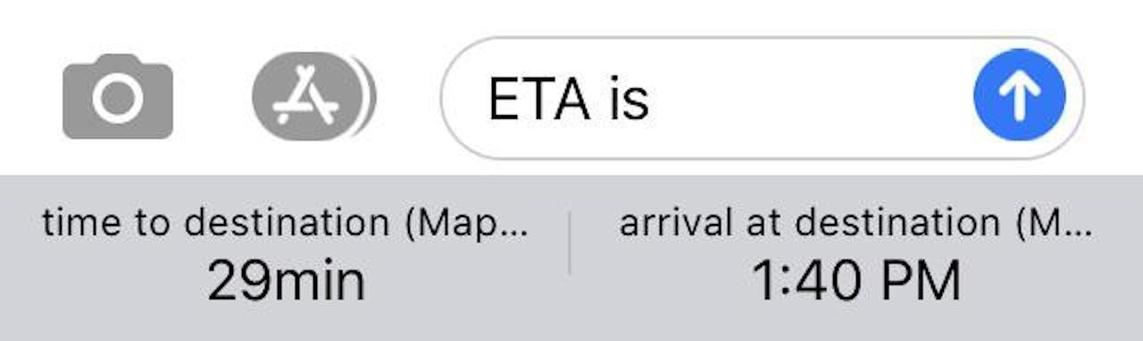 apple maps imessage eta