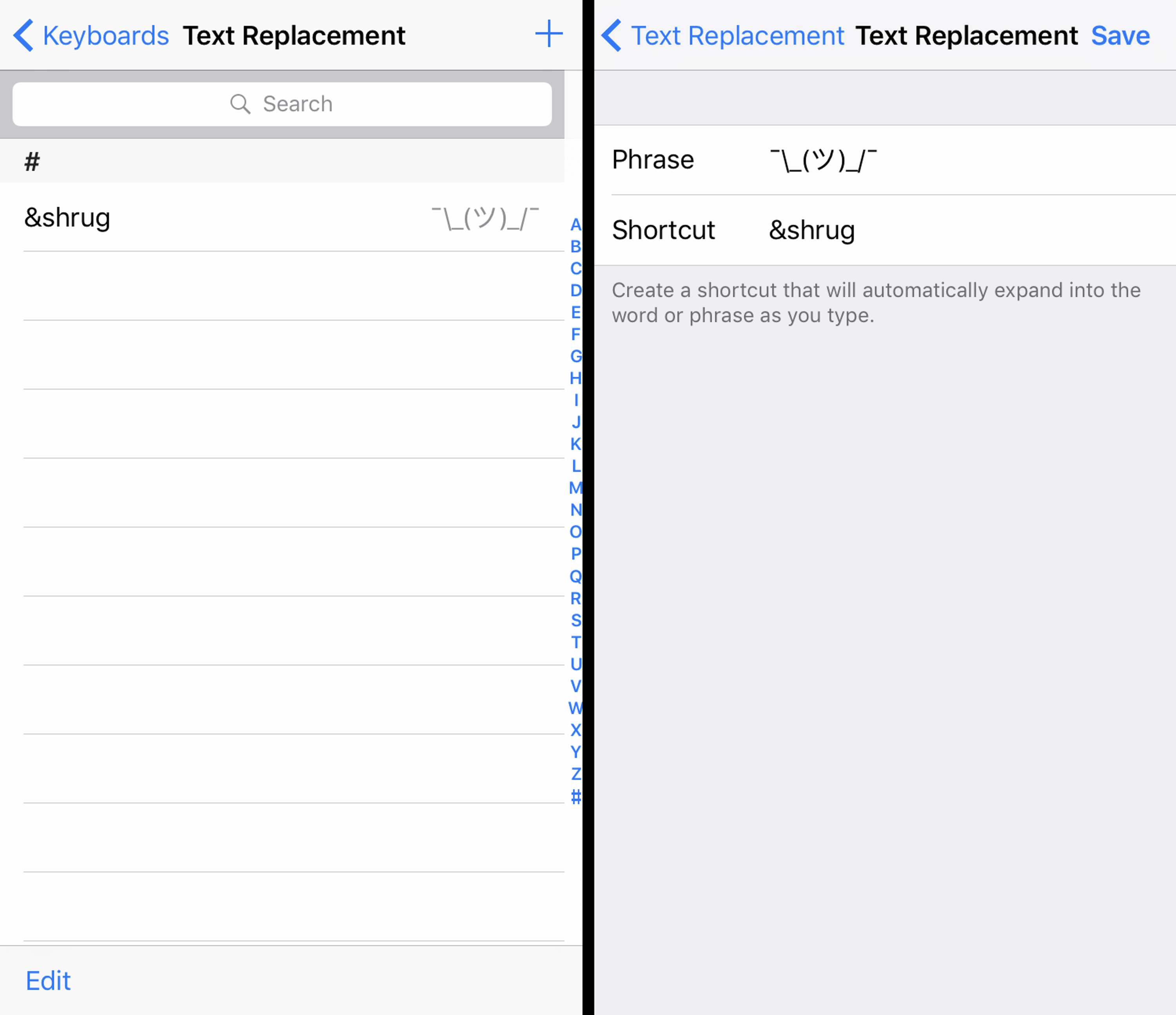 Screenshots explain how to set up text replacement with iOS 10.