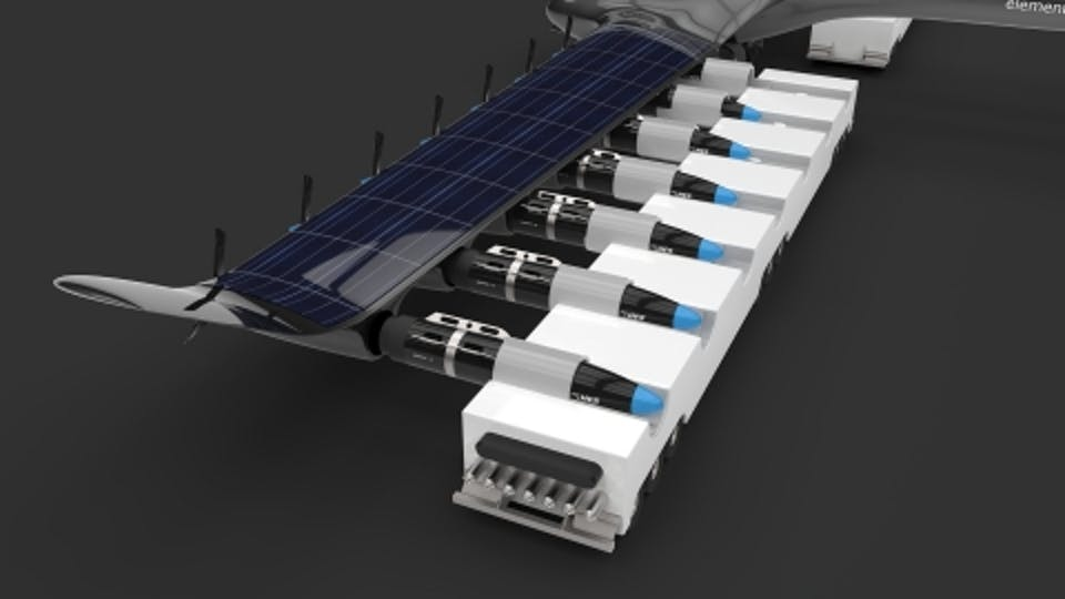 Swap hydrogen fuel cell to refuel plane.